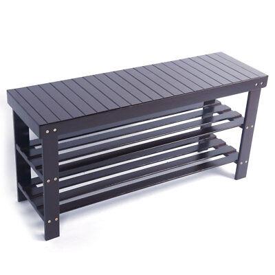 3 Tier Bamboo Shoe Rack Bench Storage Shelf Organizer Entryway Home Furni Coffee
