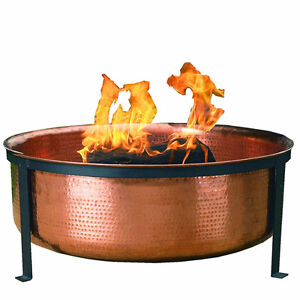 CobraCo Hand Hammered 100% Copper Fire Pit with Screen and Cover