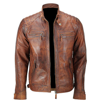 Mens Biker Vintage Motorcycle Classic Diamond Brown Distressed Leather -