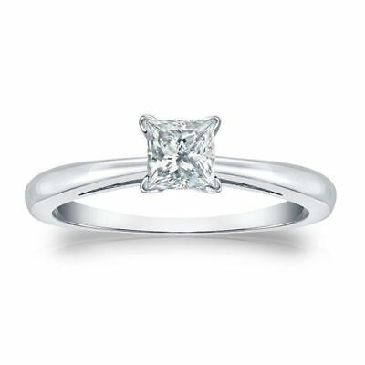 GIA Certified 1/2 Cts F/VS1 Princess Cut Natural Diamond Ring In Solid 18K Gold