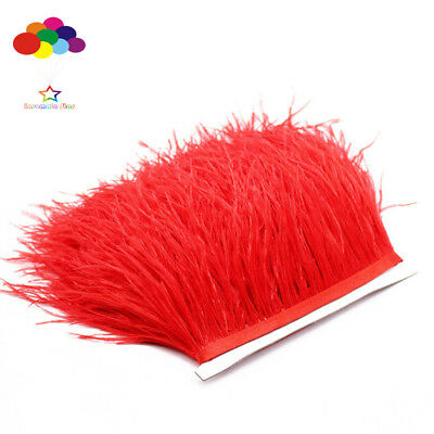 Red Ostrich Feather Fringe Ribbon Trim Price for 10 meter DIY Craft Mask