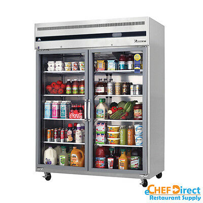 Everest Esgwr2 59 Double Glass Door Reach-in Refrigerator