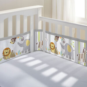 Breathable mesh baby crib bumper Liner safari
