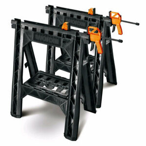 New Worx ABS Saw Horses W/Built-In Removable Bar Clamps