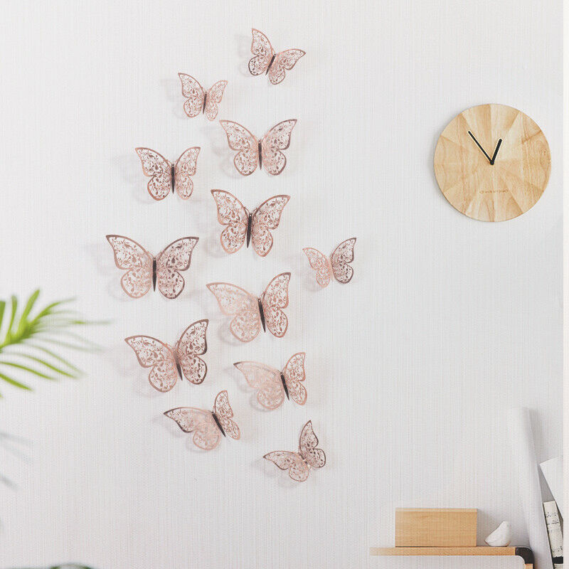 Home Decoration - 12Pcs Hollow 3D Butterfly Wall Sticker Home Décor Garden Art Decoration Kids DIY