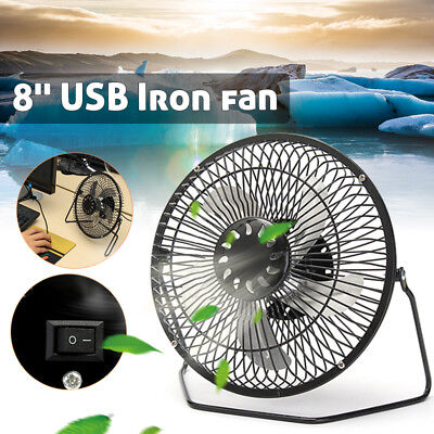 "8"" USB Iron Fan For 5W Powered Solar Panel Outdoor Home Cooling Camping Laptop"