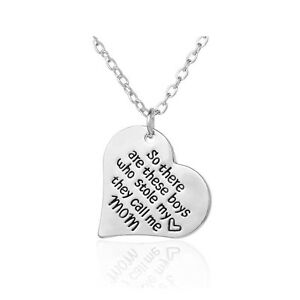 *UK* 925 SILVER PLT 'THESE BOYS STOLE MY HEART THEY CALL ME MOM' NECKLACE MUM