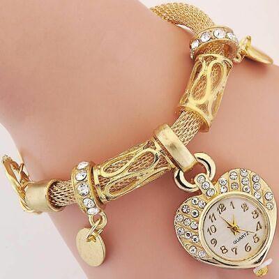 Ladies Gold Bracelet Band Watch (Bracelet Wrist Watch for woman silver gold bangle band crystal lady Fashion)