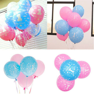 10x Baby First Birthday Balloons Printed Number 1 Boy Girl Birthday Party Decor (First Birthday Parties)