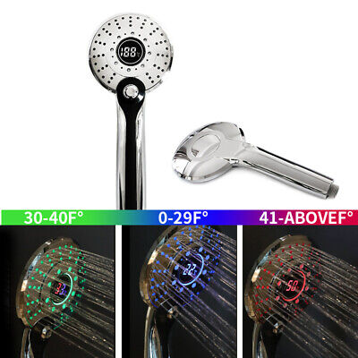 LED °C Digital display 3-Spray Pattern Filter Water Spray Handheld Shower Heads