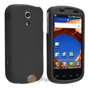 Black Snap-on Rubber Hard Skin Case Cover For Samsung Sprint SPH-D700 Epic 4G