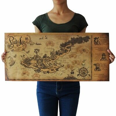 US SELLER- discount unframed art pirate lair map kraft paper retro - Discount Posters