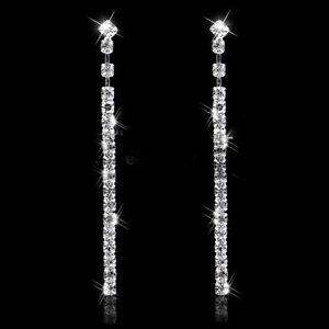 Long Drop Earrings Diamante Bridal Rhinestone Silver Dangle Crystal Party Prom