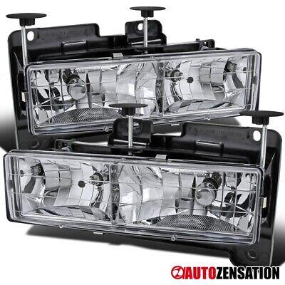 Fits 1988-1998 Chevy GMC C10 C/K Silverado GMC Sierra Clear Headlights Lamp Pair