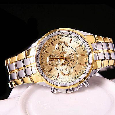 Kyпить Fashion Men's Luxury Date Gold Dial Stainless Steel Analog Quartz Wrist Watch на еВаy.соm