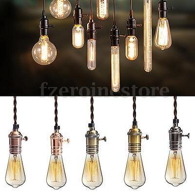 (Retro Vintage Pendant Ceiling Lamp Fitting Holder Copper Hanging 1/3 E27 Light)
