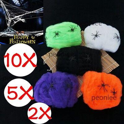 Halloween Stretchable Fake SPIDER WEB W/ 2 Spider Cotton Trick Party Decor 1-10x](Fake Spider Webs Halloween)