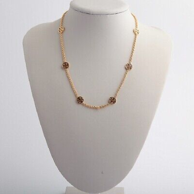 BRAND NWT Tory Burch Gold Delicate Logo Pendant Necklace