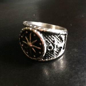 Men's Stainless Steel Nautical Compass Ring