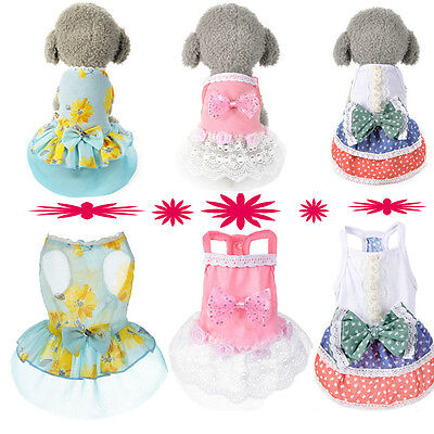 Dog Cat Bow Tutu Dress Lace Skirt Pet Puppy Dog Dresses Costume Apparel Clothe (Bow Costume)