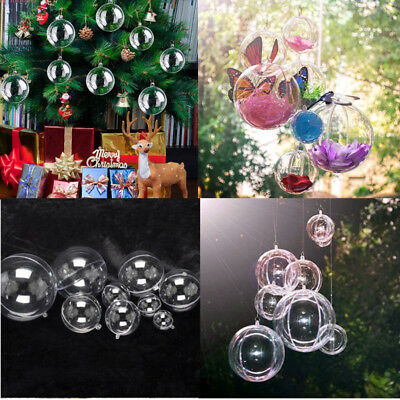 12 pcs Christmas Tree Decoration Ball Transparent Clear Plastic Ornament Gift ()