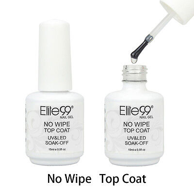 Elite99 Soak Off No Wipe Top Coat UV Gel Polish Nail Art No Tacky Sealer 15ml