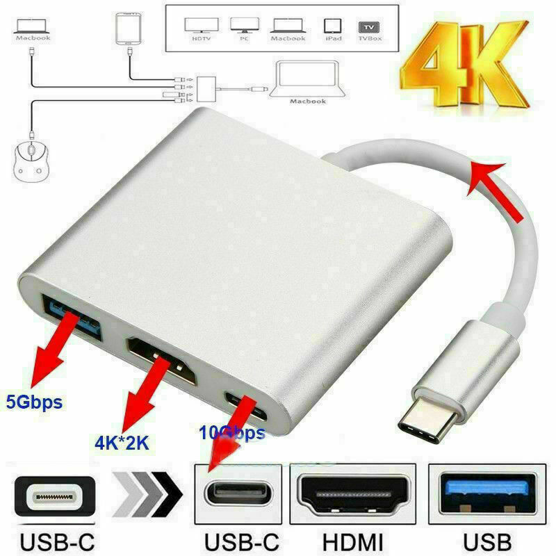 Type C USB 3.1 to USB-C 4K HDMI USB 3.0 Adapter Cable 3 in 1 Hub For Macbook Pro Cables & Adapters