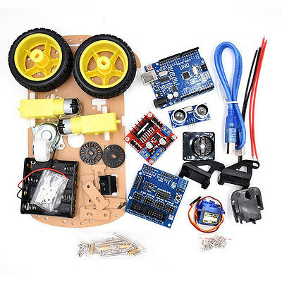 Avoidance Tracking Smart Robot Car Motor Chassis Kit 2wd Ultrasonic For Arduino.