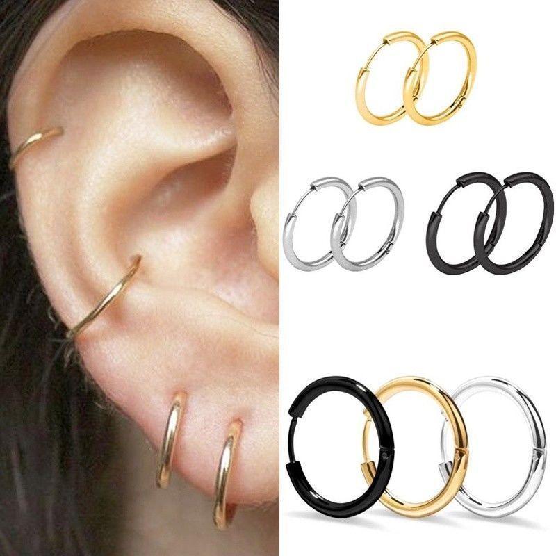 3Pair/set Women Retro Gold Silver Metal Circle Small Ring Ho