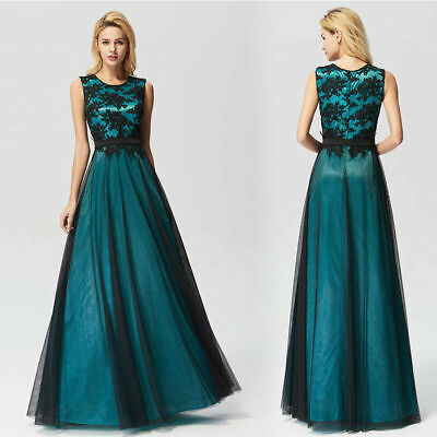 Ever-Pretty US Long Cocktail Green Gown Dresse Lace Mesh Sleeveless Party Dress](Twenties Dress)