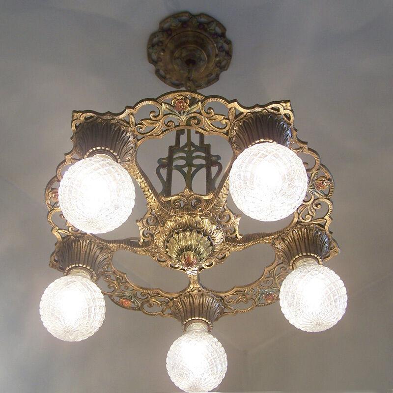 685 Vintage 20s 30s Ceiling Light lamp fixture art nouveau polychrome chandelier