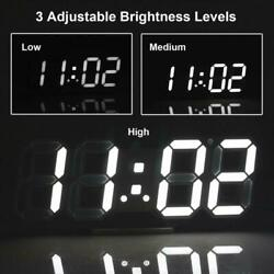 Modern Digital 3D LED Wall Clock Alarm Snooze White Watch 12/24 Hour Display USA