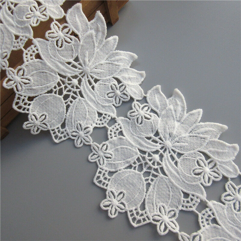 1yd Embroidered Cotton Net Lace Edge Trim Wedding Ribbon Applique Sewing Patch