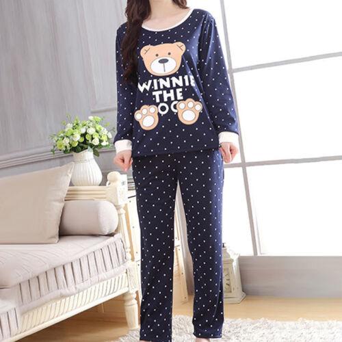 Women Cartoon Print Long Sleeve Fall Winter Pajama Sets Casu