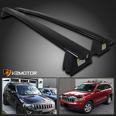 2011-2018 Jeep Grand Cherokee Black Front & Rear Roof Top Rack Cross Bar