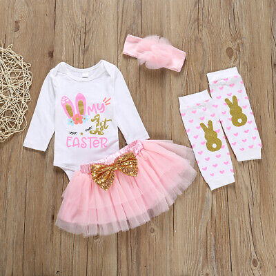 Easter Bunny Outfit (US Newborn Baby Girls Easter Bunny Tops Romper Tutu Skirt Dress Outfits)