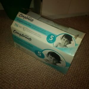 Compliments brand diapers, size 5