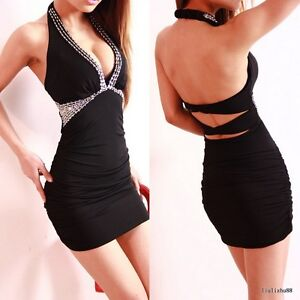 Sexy Women's Low-Cut Backless Close-Fitting Clubbing Black Club Party Mini Dress