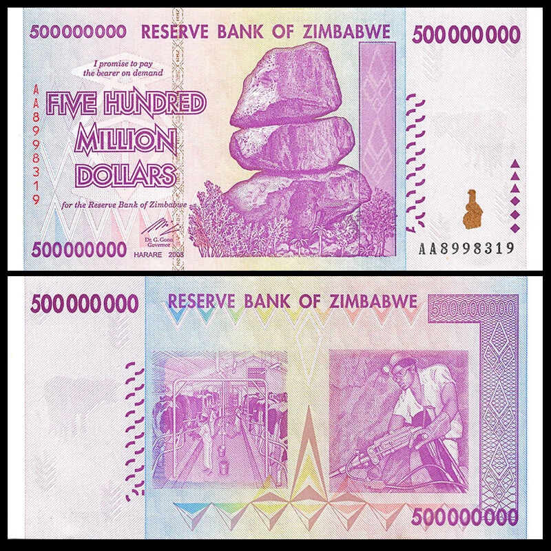ZIMBABWE 500 MILLION DOLLARS 2008 P 82 AA BANKNOTE 50 /& 100 TRILLION SERIES UNC