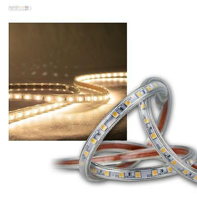 9 00 m 10m led lichtband warmwei 230v dimmbar ip44 smd licht streifen stripe ebay. Black Bedroom Furniture Sets. Home Design Ideas