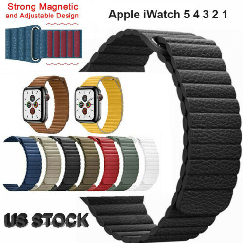 40/44/38/42mm Magnetic Leather Watch Band Loop Strap Apple W