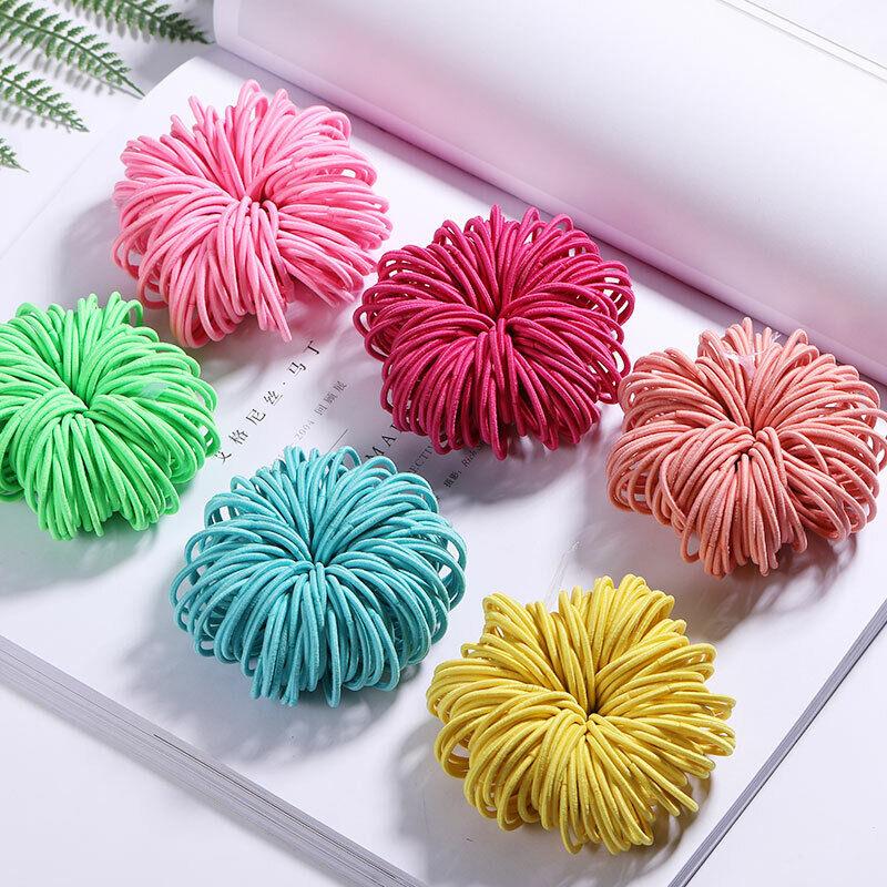100PCS/Lot Candy Colors Nylon 3CM Rubber Bands Girls Childre