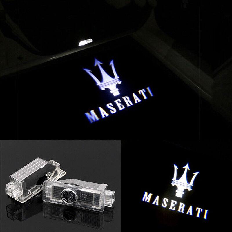 LED Door Light Projector White Logo Emblem HD For MASERATI Quattroporte Ghibli