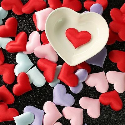 100Pcs Padded Fabric Throwing Petals Love Heart Table Wedding Party Decoration - Heart Decor