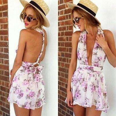 Moxeay Sexy Womens Floral Printed Halter Straps Backless Jumpsuits Romper US - Floral Printed Halter