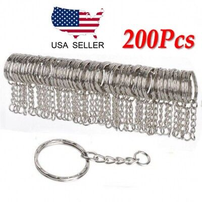 Lots 25mm Polished Silver Keyring Keychain Split Ring Short Chain Key Rings US