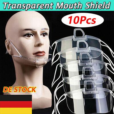 10x Transparenter Mund Nasen Schutz Mund Nasen Visier Gesichtsvisier maske