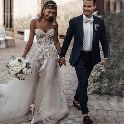 Sweetheart Boho Wedding Dresses A-line Sleeveless Appliques Beaded Bridal Gowns