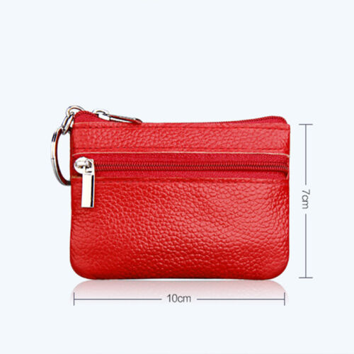 Women Leather Small Coin Card Key Ring Wallet Plain Mini Purse Zip Up Change Bag Clothing, Shoes & Accessories