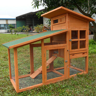 "56"" Chicken Coop Rabbit Hutch Cage Large House Wood Wooden Habitat Animal Pet"